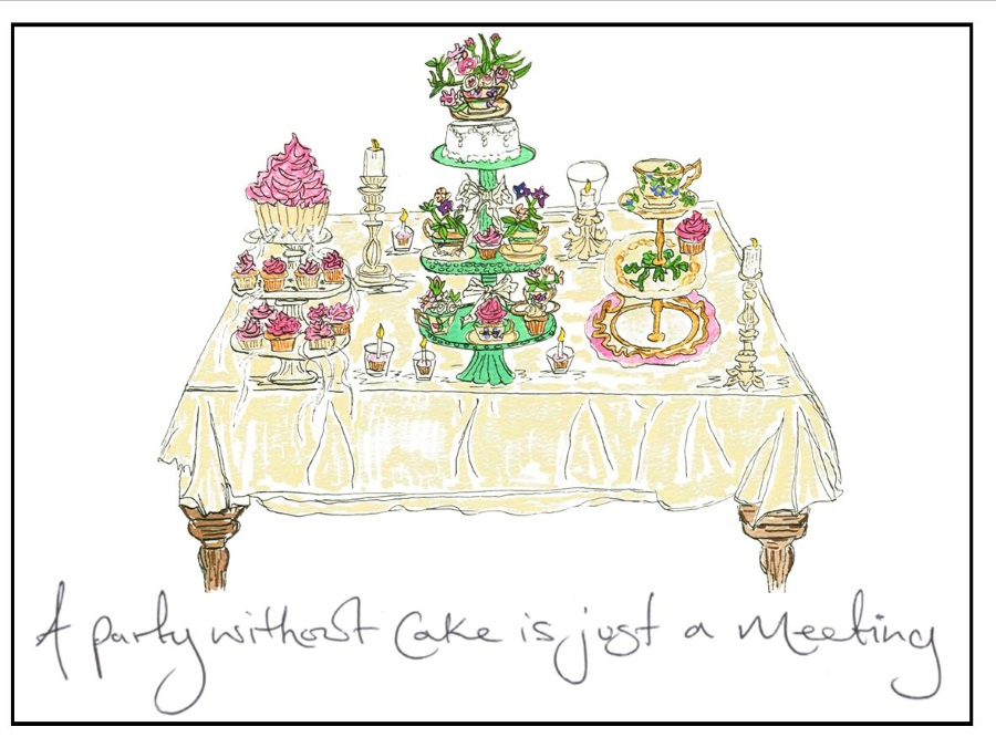 Amy Lou Art - Invites - A party wthout cake is just a meeting