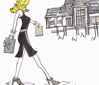 AmyLou Art - lovely Ladies - Sassy Lady walking to a party