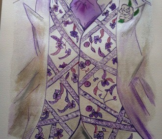 AMyLou ARt - Commission - Grooms shades of purple illustration - wedding