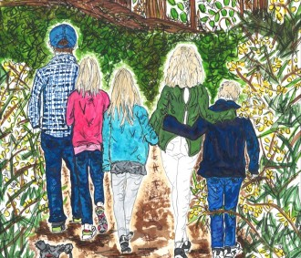 Family illustration walking in Frensham Little pond
